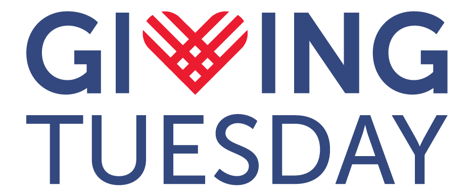 Giving Tuesday logo with text in blue and the heart logomark in red