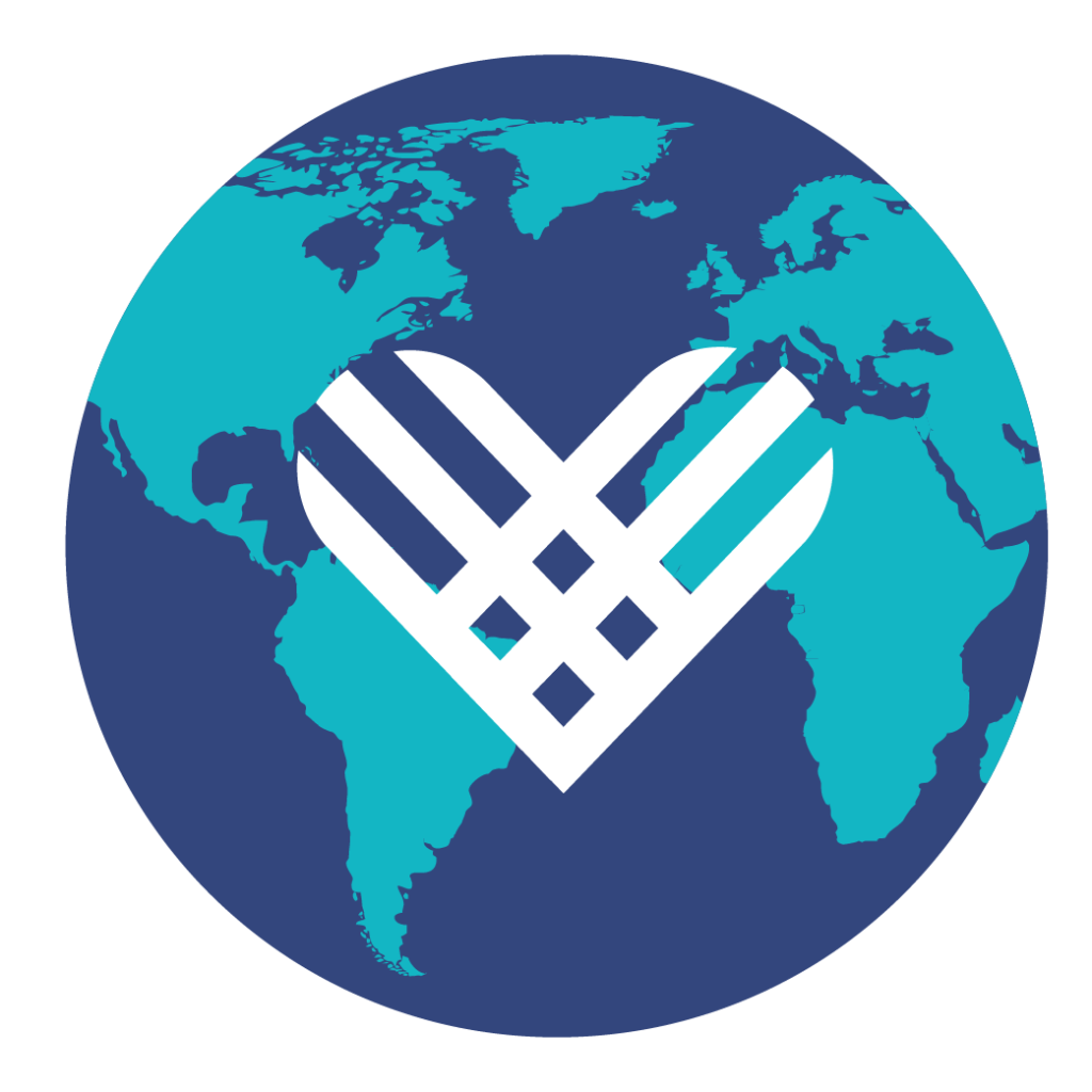 A stylized globe with a white heart logo representing Giving Tuesday superimposed over it