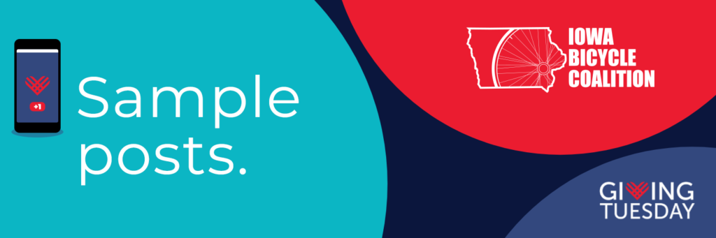 Sample Posts header image that has the Iowa Bicycle Coalition logo and the Giving Tuesday logo.